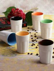 Handcrafted White Matte Ceramic Cutting Tea Glasses - Set Of 6