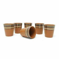 Handcrafted Ceramic Cutting Brown Microwave Safe Tea Glasses