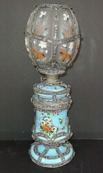 Rare French Blue Opaline Enamel Hand Painted Filligree Silver Oil Lamp C.1890
