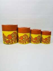 Vintage Terp Tin Canisters Tin Nesting Canisters Mushrooms Orange Lid Japan