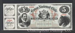 Chile Banknote Proof Catalog S333 Face And Back