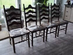 S Bent And Bros Colonial Set 4 Vintage Farm House Rustic Chairs Gardner Mass As-is