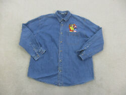 Vintage Disney Button Up Shirt Adult Large Blue Winnie The Pooh Long Sleeve Mens