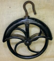 Old Well Fender Pulley 9andrdquo Large 1880andrsquos Vintage Rustic Iron 10 Barn Find Black