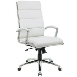 Modern Boss Eccentric White Office Executive Chair With Metal Chrome Finish