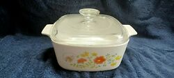 Vintage Corningware Wildflower Casserole Dish With Handle Stamped Best Offers