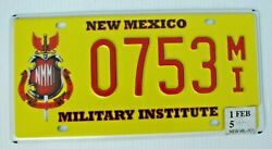 Nmmi Roswell New Mexico Nm Military Institute Graphic License Plate 0753 Mi