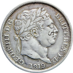1819 Over 3 Shilling George Iii Great Britain Rare Coin Silver Mo648-