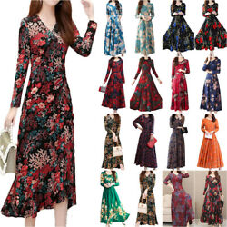 Women Long Sleeve Floral Midi Maxi Dress Cocktail Evening Party Swing Dress $19.94
