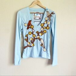 Johnny Was Love Stitch Size Large V Neck Long Sleeve Bird Hand Embroidered Top