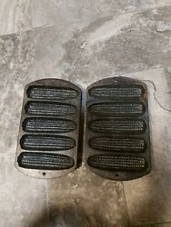 Antique Cast Iron Corn Bread Pan, Mold. Lodge 7. 2 Pack Fast Free Shipping