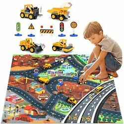 Construction Vehicles Truck Toys Set With Play Mat Mini Engineering Diecast