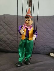 Vintage Carved Wood Painted Wooden Marionette Puppet Pinocchio
