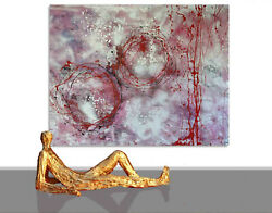 Large Paintings Sale Silver Art Wall Hand Painted Canvas Unique 78 X 60