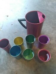 8 Piece Set Vintage Aluminum Perma Hues 7 Tumblers And 1 Regalware Pitcher