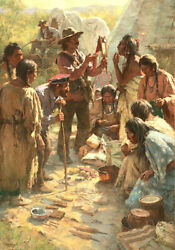 Howard Terpning Traders Among The Crow Canvas Giclee With Limited Edtion Book