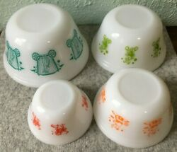 Vintage Federal Milk Glass Heat Proof Usa Circus Mixing Nesting Bowls Near Mint