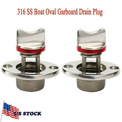 2pcs Oval Garboard Drain Plug 316 Stainless Boat Fits 1and039and039 Hole Thread For 3/4and039and039