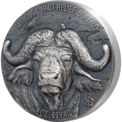 Mauquoy Haut Relief Water Buffalo Big Five 5 Oz Silver Coin Ivory Coast 2020