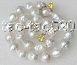 Natural 17 17mm White Reborn Keshi Pearls Beads Necklace Magnet Clasp K461