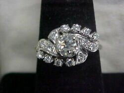 Antiquedeco1920and039s Rare Europeant Cut Natural Diamond Ring 14k White Gold 7.25