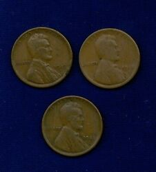 U.s. Lincoln Cents 1 Penny Coins 1918-d, 1919-d, And1920-d, Group Lot Of 3