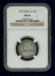 U.s. 1893 Isabella Quarter-dollar Silver Uncirculated Coin Certified Ngc-ms64