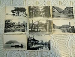 Antique Vintage 1900's Black And White Postcard Lot Of 8 Japan Japanese As Is