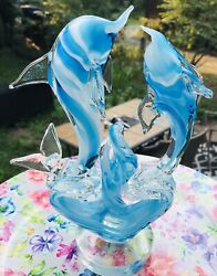 Murano Hand Blown Art Glass Blue And White Dolphins Swim And Wave Footed Pedestal