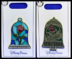 Disney Parks 2 Pin Lot Beauty And The Beast Stain Glass Rose + Hinged Mirror New
