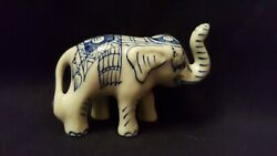 Vintage Chinese Blue And White Porcelain Elephant Figurine Statue