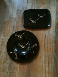 Vintage Retro Roadrunner Mid Century Couroc Serving Tray Bowl Cheeseboard