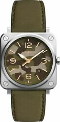 Brand New Authentic Bell And Ross Instruments Br S Green Camo 39mm Menand039s Watch