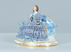 Antique Rare Germany Dresden Muller And Co Blue Lace Lady Porcelain Figurine