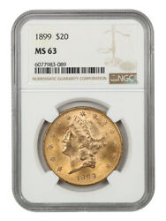 1899 20 Ngc Ms63 - Liberty Double Eagle - Gold Coin