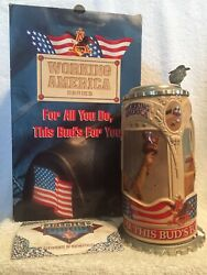 Budweiser Working Anerica Series The American Worker I Stein Cs318 Signed