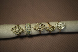 Vintage Yellow Gold Plated Cluster Rings Lot Of 5 Cz Cocktail Costume.