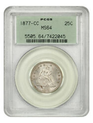 1877-cc 25c Pcgs Ms64 Ogh - Old Green Label Holder - Liberty Seated Quarter