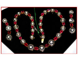 925 Silver Antique Victorian Rose Cut Diamond And Ruby String Women Necklace Set
