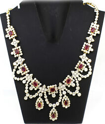 925 Sterling Silver Rose Cut Diamond Polki Necklace Ruby Vintage Style Jewelry