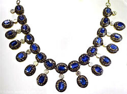 925 Sterling Silver Rose Cut Natural Diamond And Sapphire Victorian Look Necklace