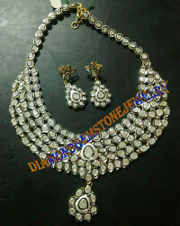 925 Sterling Silver Vintage Style Uncut Natural Diamond Anniversary Necklace Set
