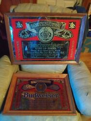Vintage Mirrored Budweiser Beer Bar Signs Good Condition.