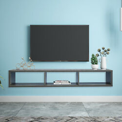 Floating Tv Shelf For Game Consoles Cds Rustic Wall Mounted Media Console 60l