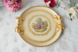 Vintage Round Handmade Italian Wooden Tray With Romantic Illustration White Gift