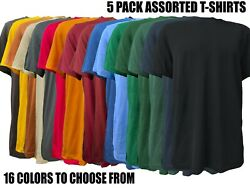 5 Pack Short Sleeve Mix Colors Cotton T-shirts Plain T-shirts Tee Assorted Mix