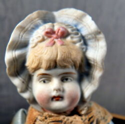 Antique German All Bisque 5 Hertwig Bonnet Head Girl Doll 112 Dollhouse Size