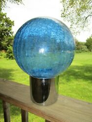 Fantastic Mid Century Modern Chrome Table Lamp W/ Large Blue Crackle Glass Shade
