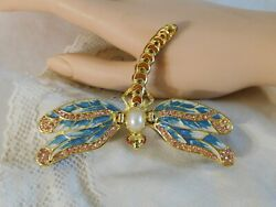 Enameled Blue Pink Dragonfly Trinket Box, Accented With Austrian Crystals