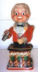 Vintage Battery Operated Bartender TN Toys Japan 1950#x27;s Works